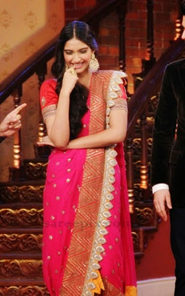 Sonam-kapoor-saree-Comedy-nights-with-kapil