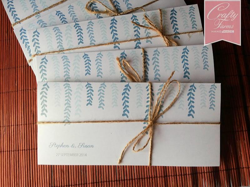 Simple Blue Garden Themed Pocket Style Wedding Invitation Card Brisbane QLD, Australia