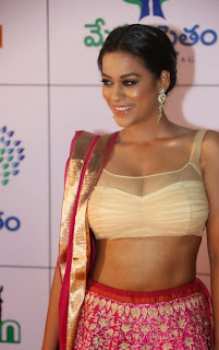 Actress Mumaith Khan  Picture Gallery in Half Saree at Memu Saitam Dinner with Stars Red Carpet  13.jpg