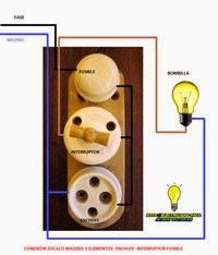 Conexión electrica zocalo madera 3 elementos