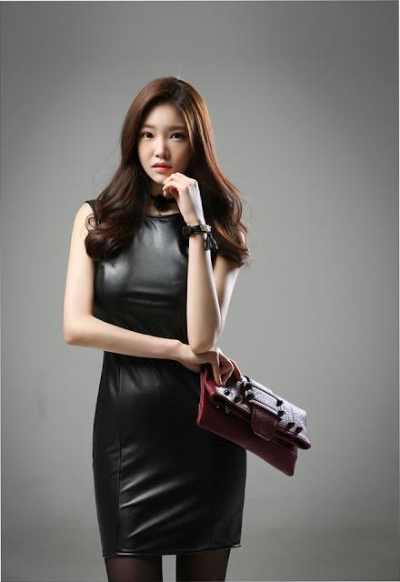 4 Jung Yun - Leather Dress - very cute asian girl-girlcute4u.blogspot.com