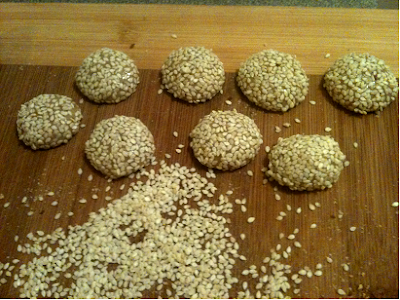 Halva Balls with tahini rolled in sesame seeds