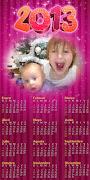 Plantilla para tus fotos de año nuevo, ademas adornadas con un calendario . marco fotos de aã'o nuevo con calendario