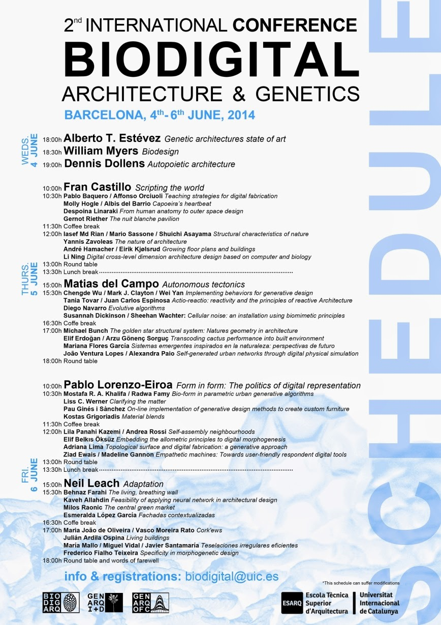 Rhino News, etc.: Biodigital Architecture & Genetics conference in Barcelona