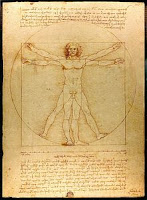 Famous text book page, brown with age, by Leonardo DaVinci. A drawing of a man inside a circle with labeled body parts with hand-written text above and below.