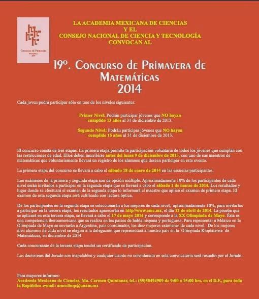CONCURSO DE PRIMAVERA DE MATEMÁTICAS 2014