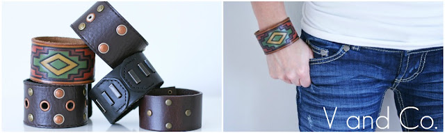 Leather Cuff Made Out of Recycled Belt - V and Co.