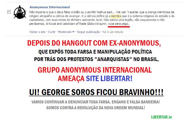 Hangout: Conversa e mais informações com Ex-Anonymous. Site Libertar é ameaçado pelos Anonymous Internacionais!