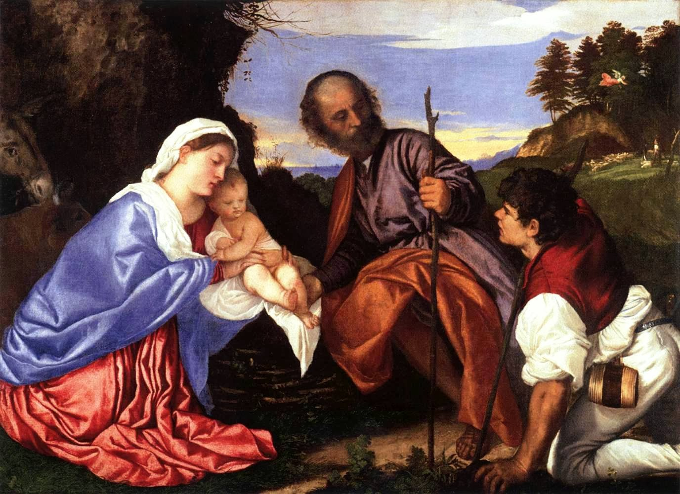 Patrick comerford art for christmas 6 the holy family with a family with a shepherd by titian spiritdancerdesigns Image collections