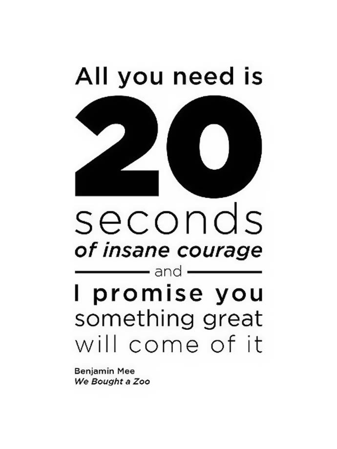 Inspirational quote: All you need is 20 seconds of insane courage and I promise you something great will come of it. Benjain Mee. We bought a Zoo