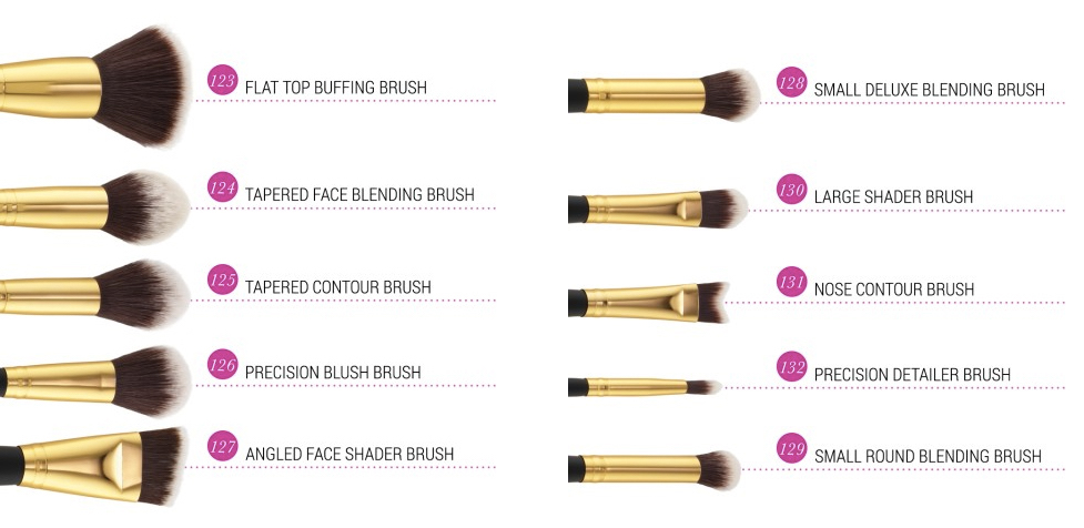 bh cosmetics 10 pcs deluxe makeup brush set color