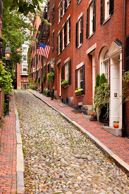 Acorn Street in Beacon Hill, Boston, Massachusetts