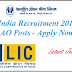 LIC India Recruitment 2015-Apply For AAO-Asst. Administrative Officers Jobs