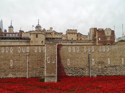 Eastern cascade of poppies - rounded Constable Tower (left) and Martin  Tower (right) (copyright G.K. Jakobs).