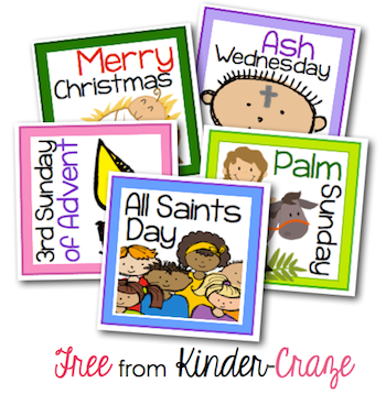 FREE Religious holiday cards for a classroom calendar