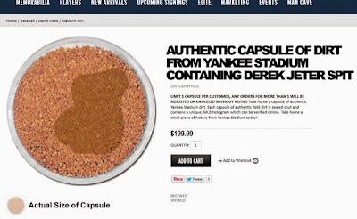funny Derek Jeter selling game worn spit