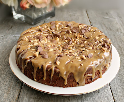 Double Chocolate Chip Cake with Salted Peanut Butter Glaze (from Muffins for Muffin online bake sale)