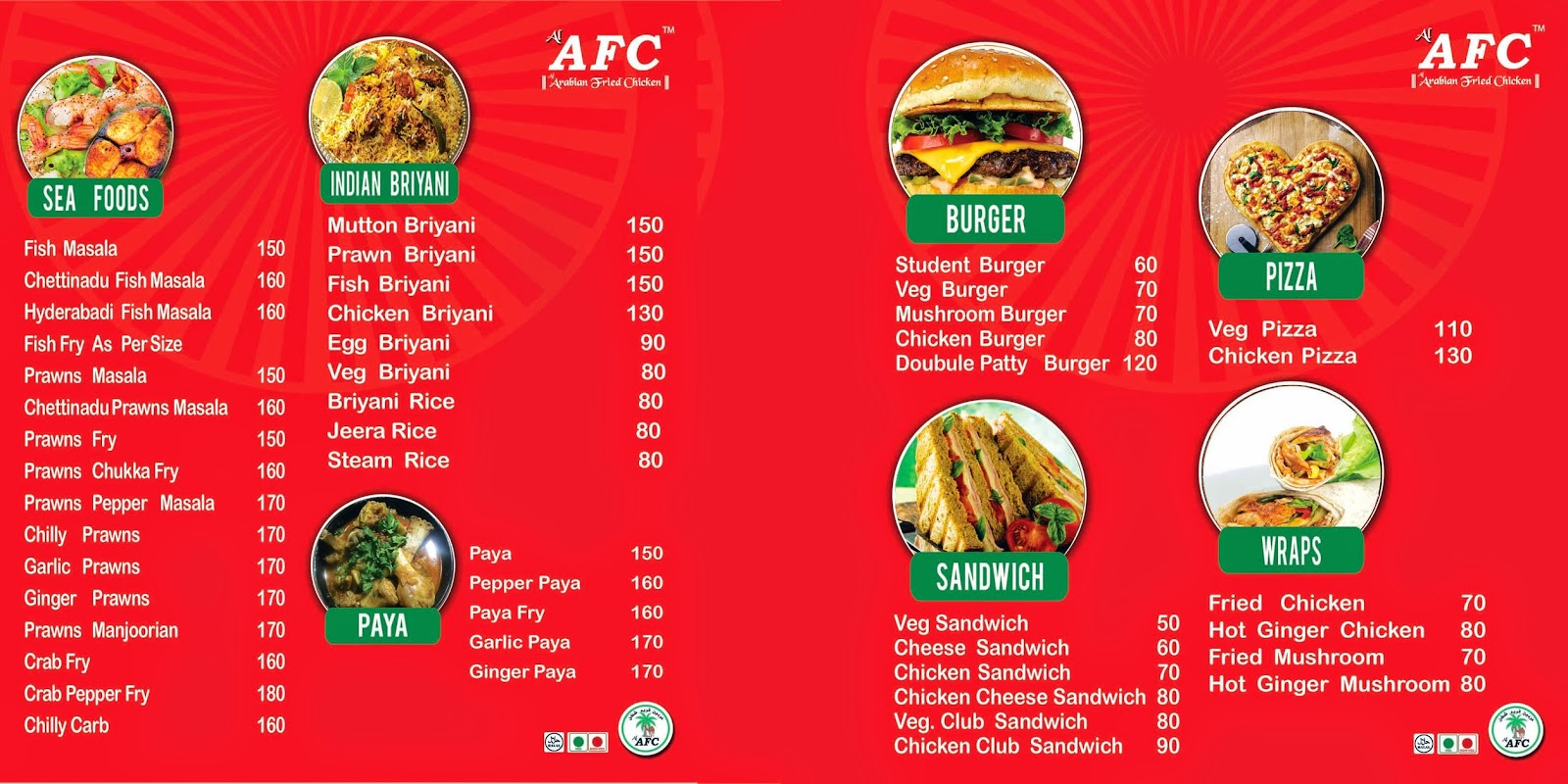 Picker design studio afc restaurant menu card
