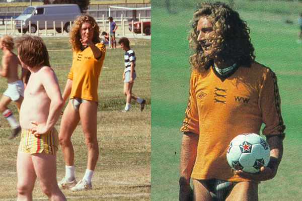 Robert Plant playing soccer in a speedo