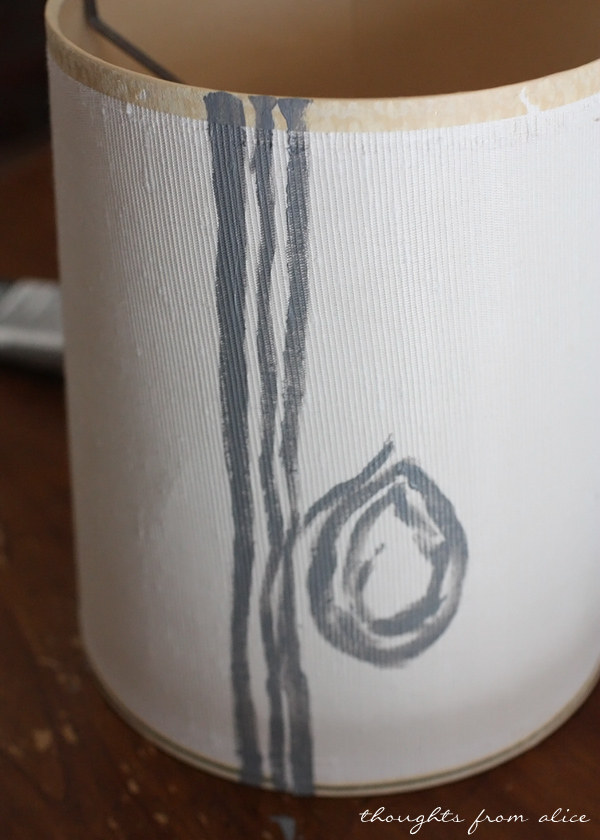 Hand Painted Tree Bark Lampshade