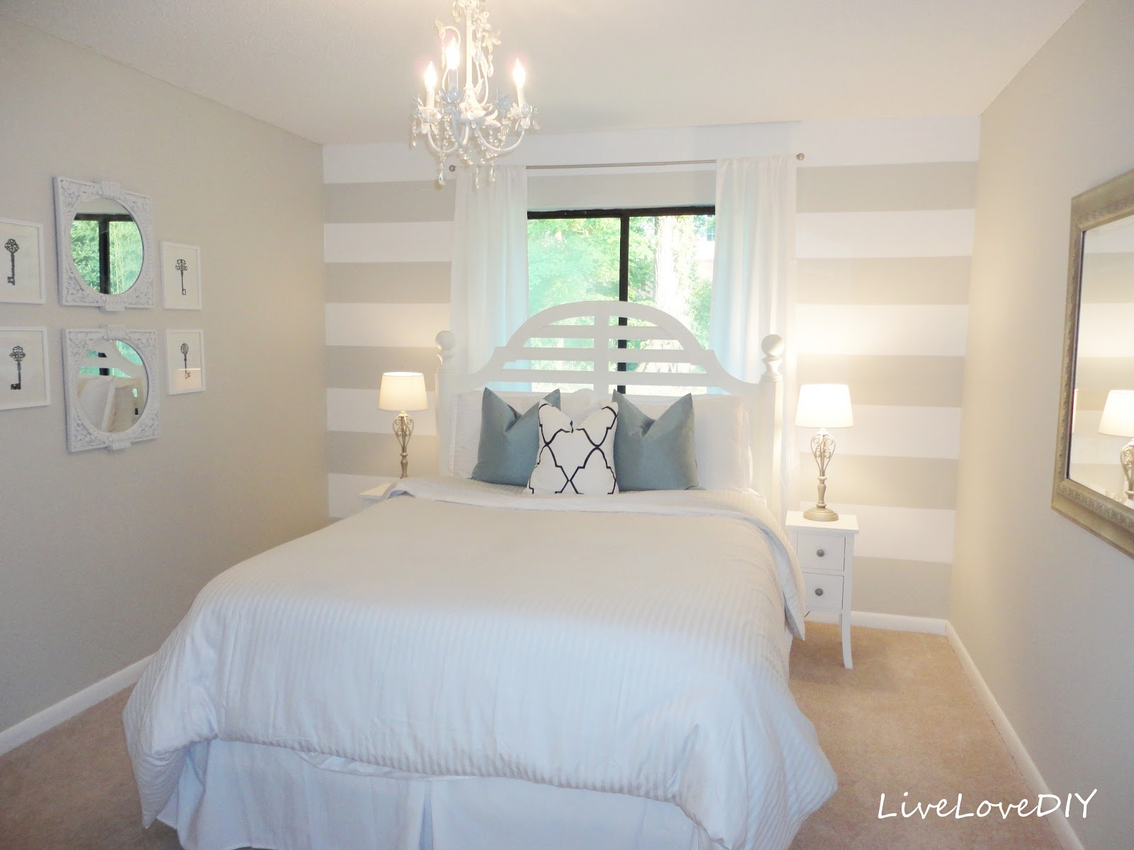 Blue And Brown Striped Bedroom livelovediy: diy striped wall guest bedroom makeover