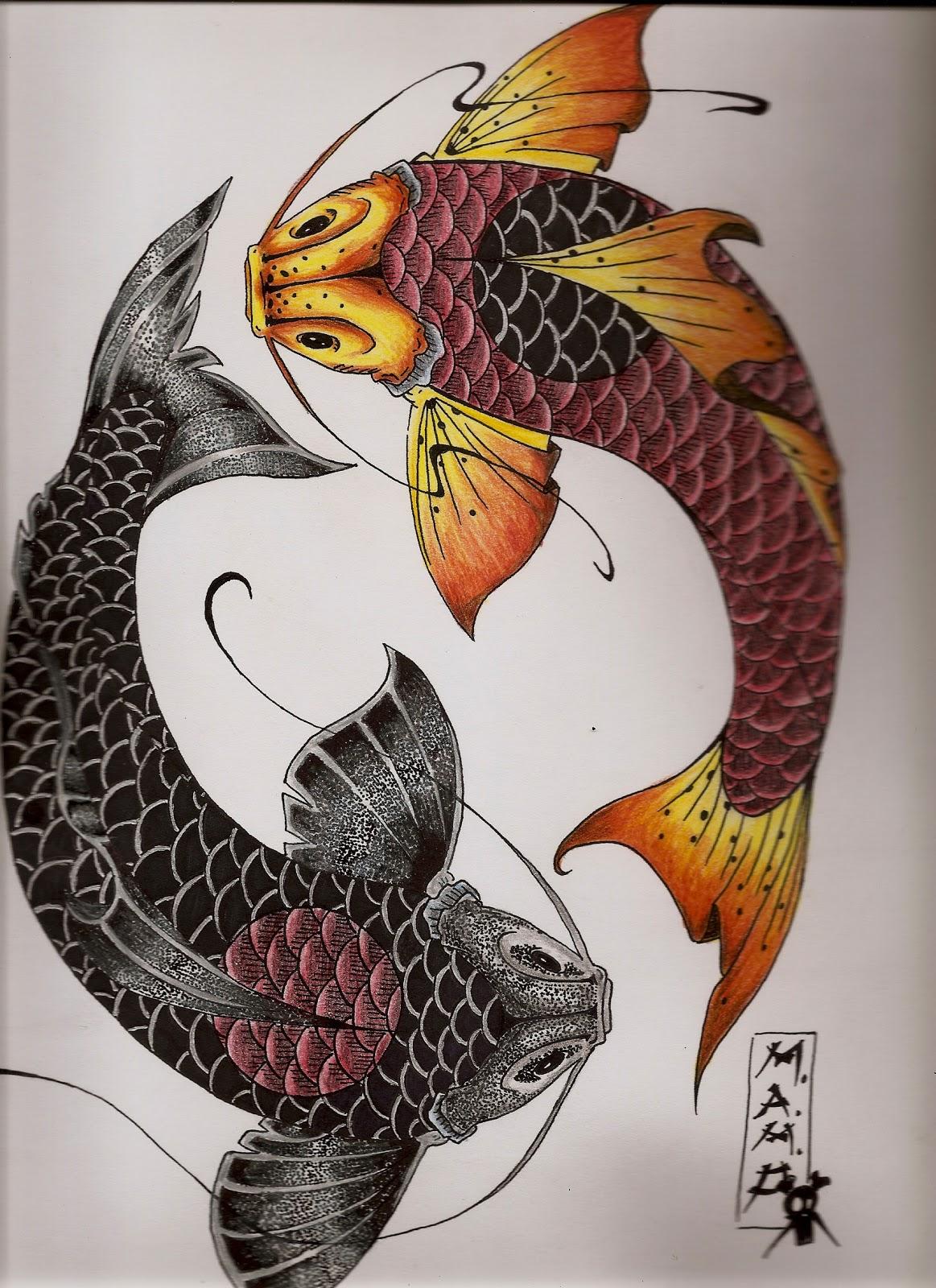 Worksheet. Marniox Art Boceto 1 peces koi ying yang