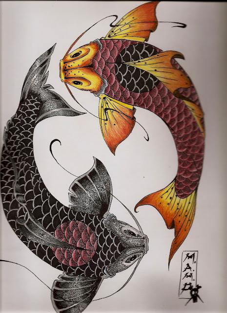 Marniox art boceto 1 peces koi ying yang for Imagenes de peces chinos