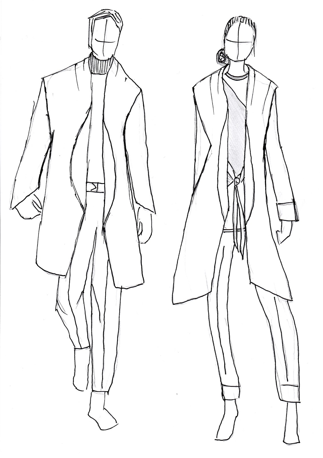 Line Drawing Jacket : Alain putting together outfits line drawings