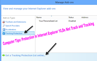 Computer Tips: Protection in Internet Explorer 10,Do Not Track and Tracking