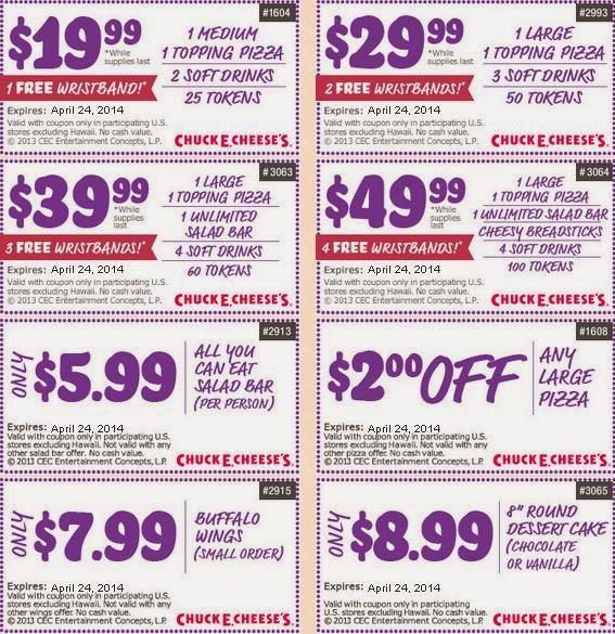 Chuck e cheese coupons 100 tokens 2019