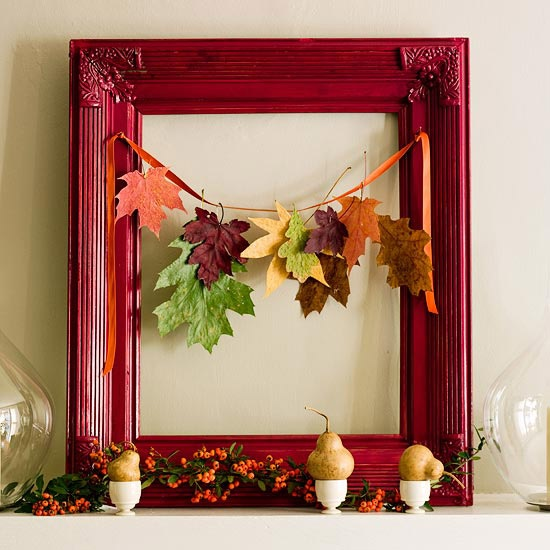 Interior design and decoration fall autumn crafty nature for Autumn leaf decoration