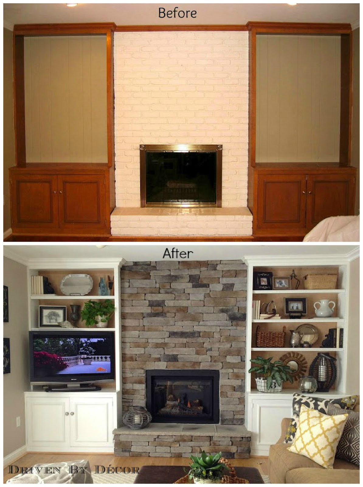 Transforming a Fireplace and Built in Bookcases
