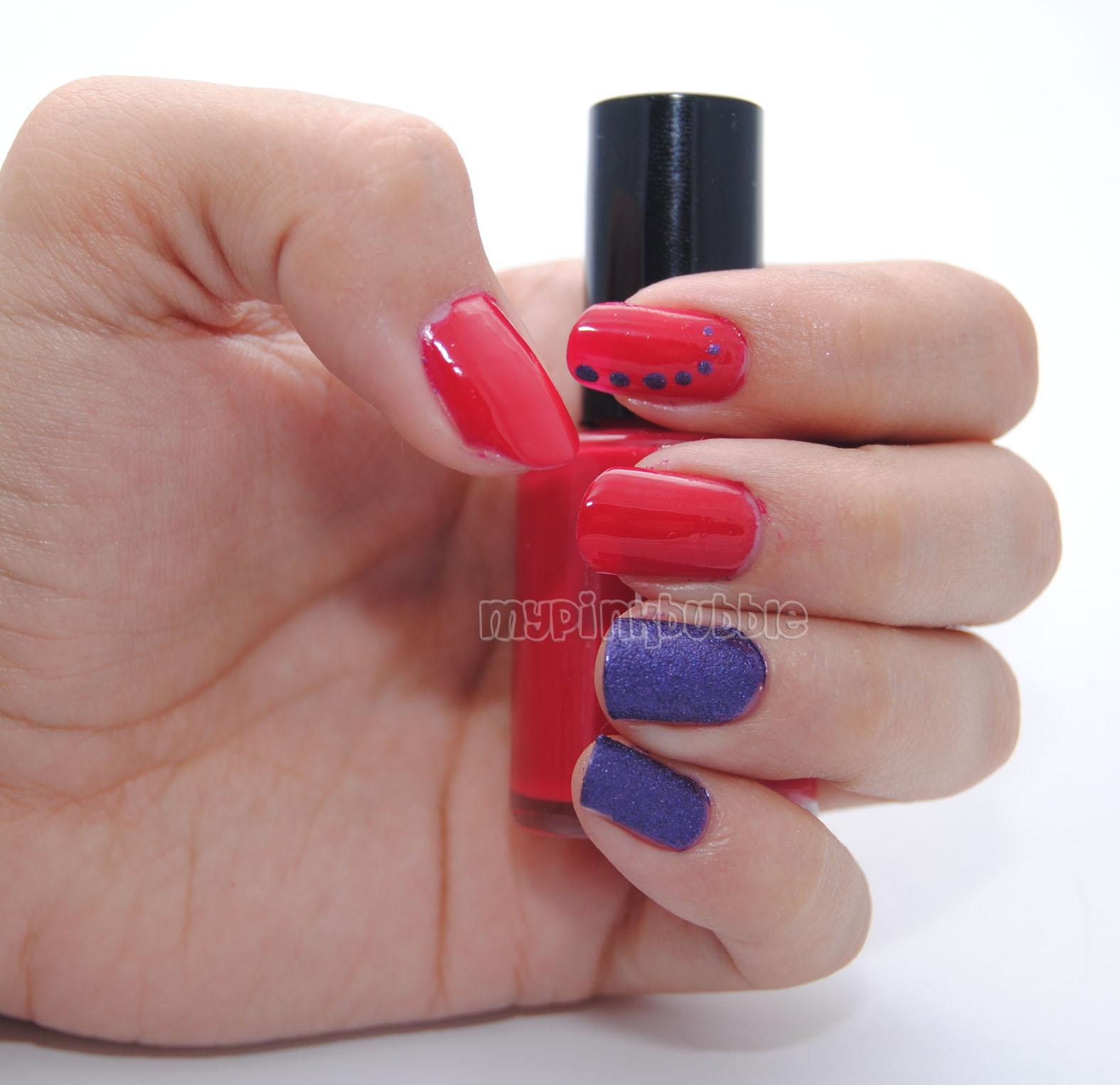 manicura roja y morada