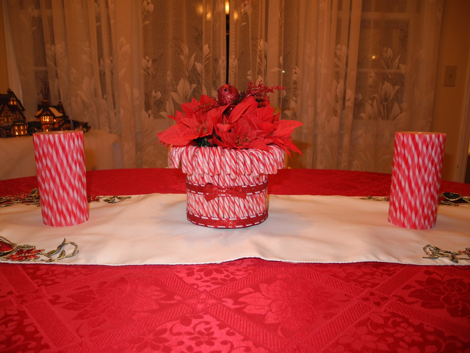 Candy cane centerpiece for Candy cane holder candle centerpiece