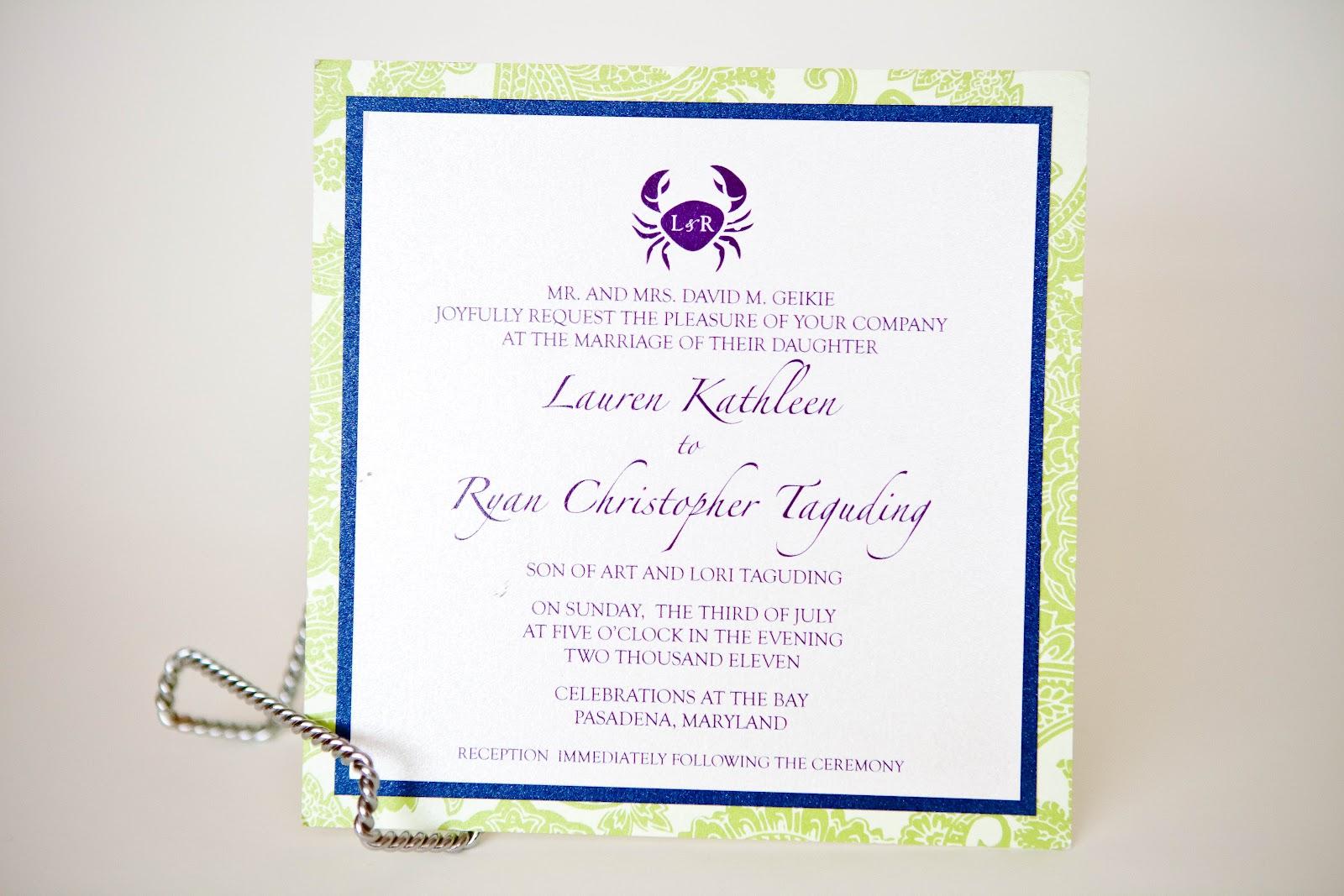 Crab design wedding invitations baltimore kindly rsvp designs blog stopboris Gallery