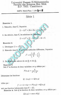 exercices corrigés analyse complexe fsbm