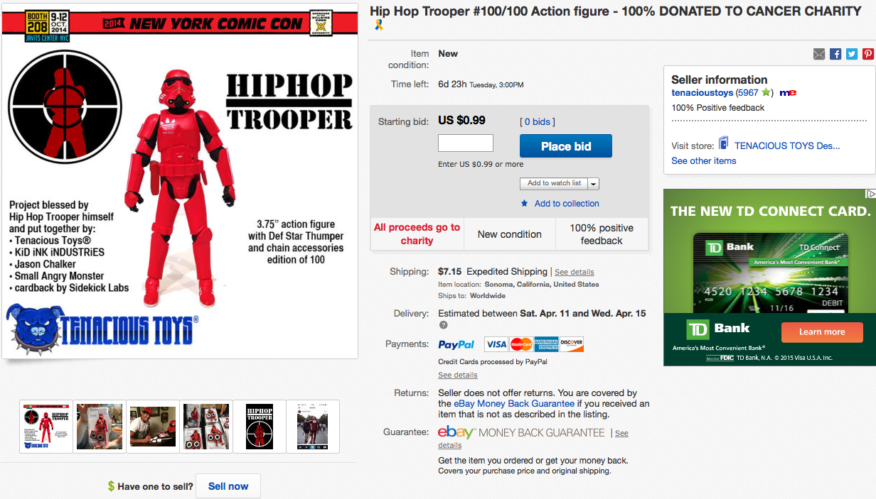 http://www.ebay.com/itm/Hip-Hop-Trooper-100-100-Action-figure-100-DONATED-TO-CANCER-CHARITY-/111635038499?