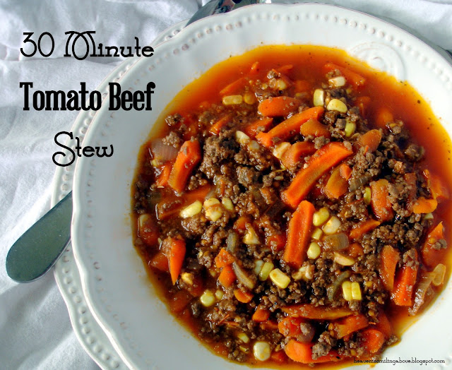30 minute Tomato Beef Stew This will be your new family favorite. It's fast, hearty, and delicious. Make it tonight! Heaven is Smiling Above heavenissmilingabove.blogspot.com #tomato #stew #soup #beef #venison #dinner