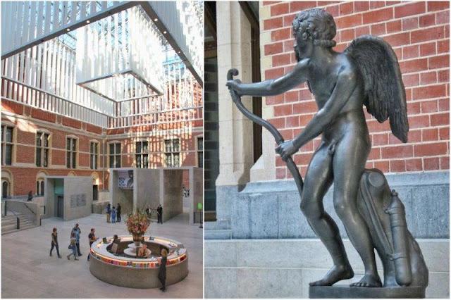 Entrada del Museo Rijksmuseum en Amsterdam – Escultura en la entrada del museo Rijksmuseum