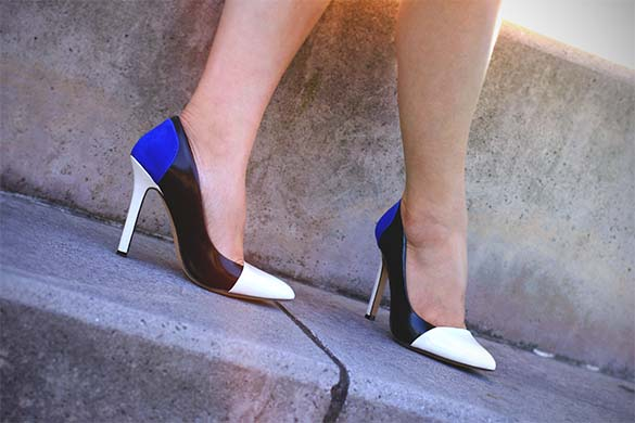 SoleSociety Blue Black White Colorblock Pump
