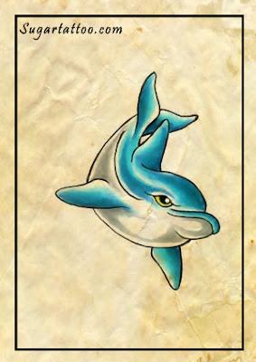 dolphin tattoos,fish tattoos,sealife tattoos,ocean tattoos,blue tattoos