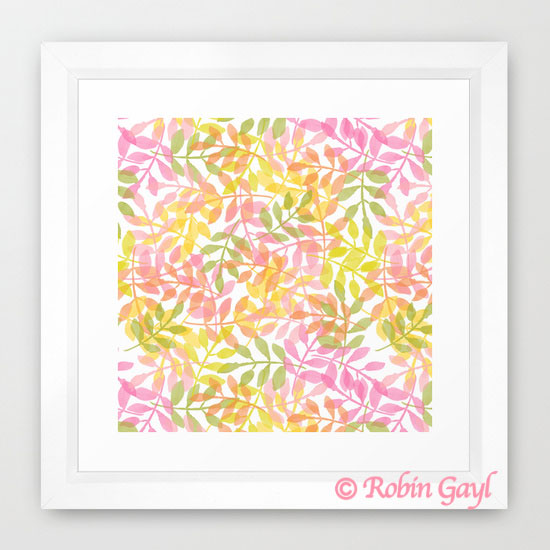 Curved Vines Abstract Pattern, Pink, green, yellow, orange, floral