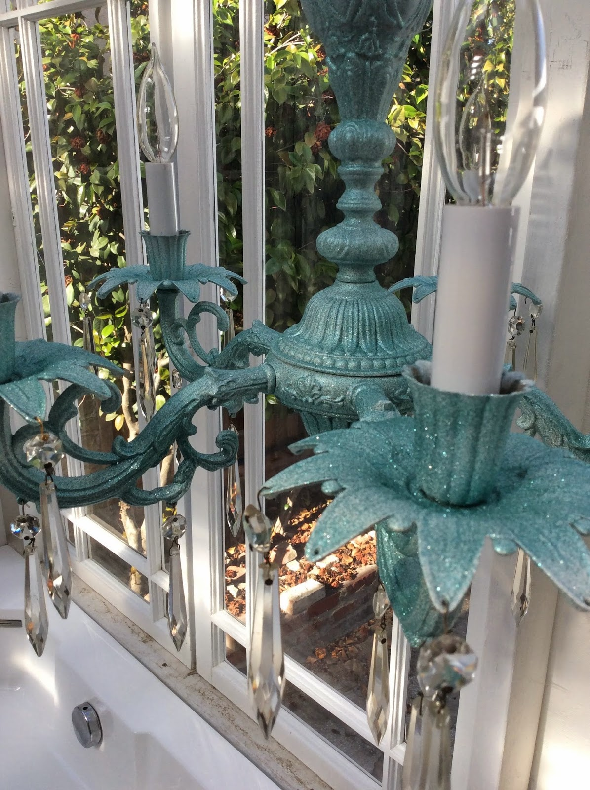 Krylon light blue glitter blast chandelier, stefanie girard