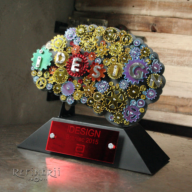 Custom made metal trophy with gears