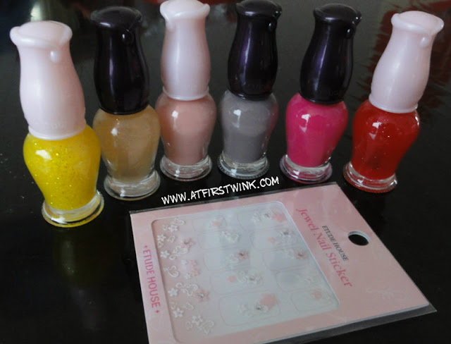 Etude House nail polishes and nail stickers