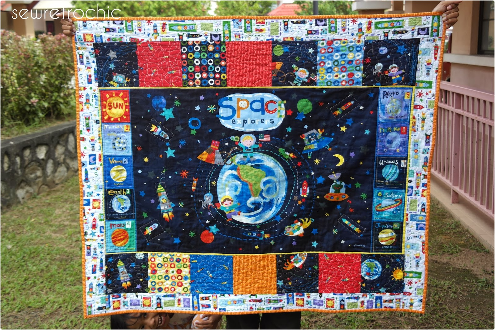 Sew retro chic an astro boy quilt for baby harith for Outer space themed fabric