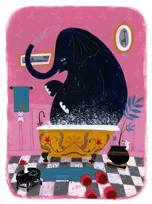 illustration by Ellen Surrey of an elephant having a bath in his bathroom
