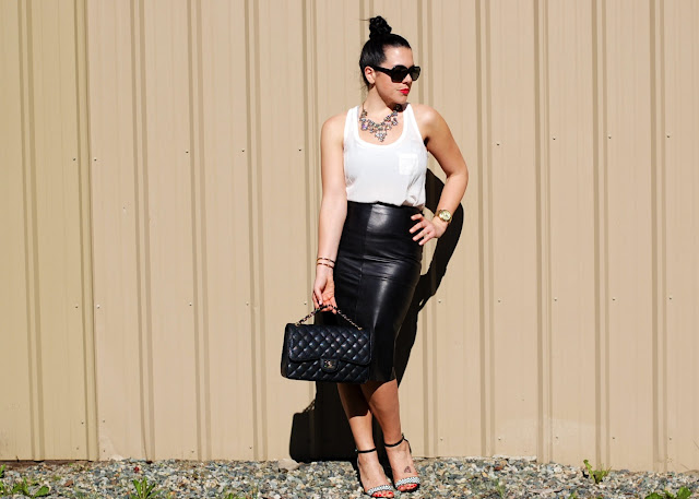 Danier leather skirt,Forever 21 silk tank,Chanel Jumbo classic flap,Zara heels,J.Crew necklace