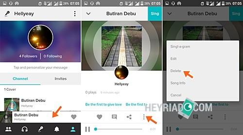 Cara Menghapus Lagu di Smule Android