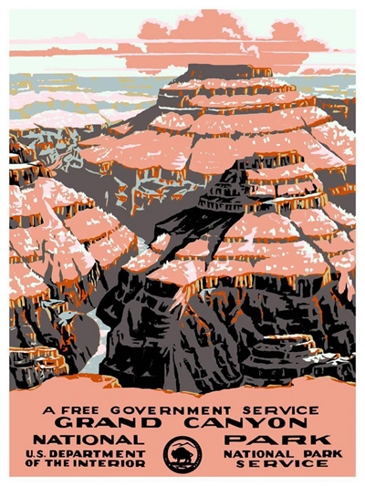 classic posters, federal art project, free download, graphic design, retro prints, travel, travel posters, vintage, vintage posters, wpa, Grand Canyon National Park, US Dept of Interior - Vintage Travel Poster